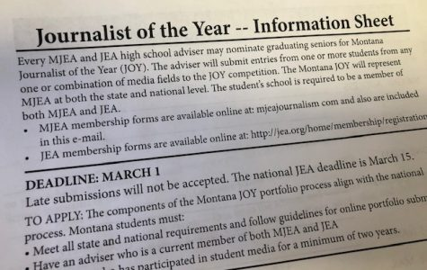 Montana HS Journalist of the Year deadline March 1