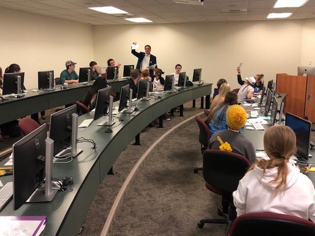 UM journalism professor Keith Graham presents a design workshop at the April 18 HIgh School Journalism Day.