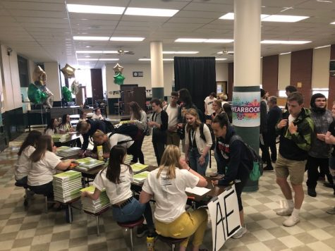 The C.M. Russell High School Russellog staff held a distribution party -- complete with a live jazz band -- in the school cafeteria on May 16. This year