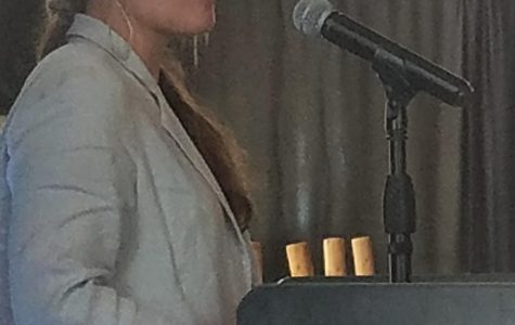 Bigfork's Ahna Fox, the recipient of the Montana High School Journalist of the Year award, speaks to a meeting of the Montana Newspaper Association at Big Sky in June 2019.