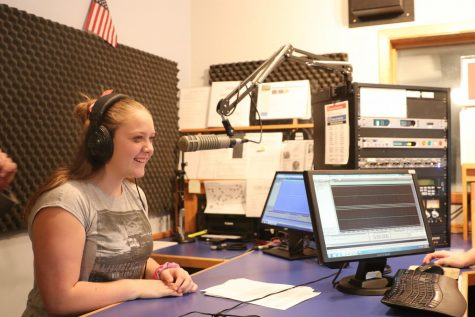 1.	 Park High student Desiree Swanson learns how to interview someone on-air while visiting the Northern News Network station in Billings Thursday.
